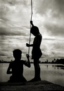 Boys fishing, Angkor, Cambodia 1999