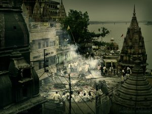 Cremation on the banks of the Ganges, Varanasi, India 2007