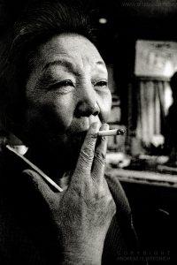 Mama Kyoko Maruyama smoking, Tokyo, Japan 2012