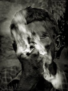 Man suffering from leprosy, Varanasi, India 2007